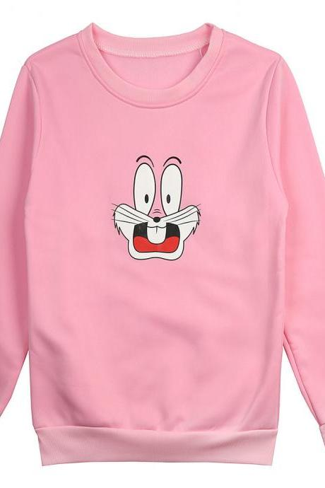 Women Men Sweatshirt Autumn Winter Warm Cartoon Printed Long Sleeve Casual Loose Fleece Pullovers Tops pink