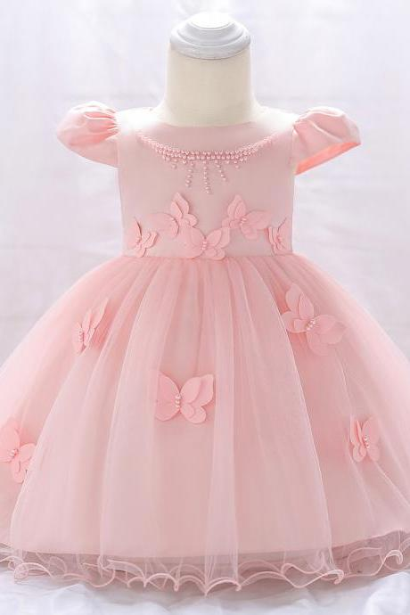 Newborn Baby Girl Dress Cap Sleeve Butterfly Flower Birthday Party Tutu Gown Children Clothes pink