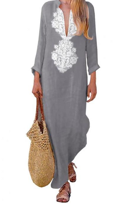 Women Maxi Dress Autumn V Neck Long Sleeve Cotton Linen Asymmetrical Side Split Casual Long Dress gray