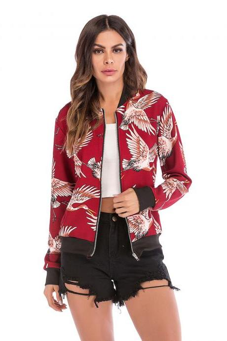 Women Baseball Uniform Coat Crane/Floral/Striped Printed Autumn Long Sleeve Zipper Casual Slim Jacket Outerwear 2#
