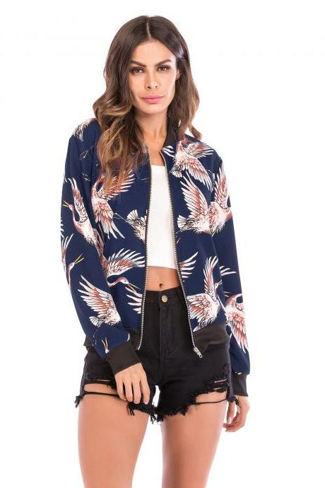 Women Baseball Uniform Coat Crane/Floral/Striped Printed Autumn Long Sleeve Zipper Casual Slim Jacket Outerwear 3#