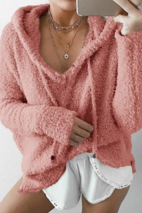 Women Fluffy Mohair Sweatshirt Autumn Warm Fleece Hoodies Drawstring V-Neck Hooded Long Sleeve Loose Pullover Tops salmon