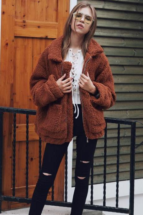 Women Faux Fur Coat Winter Turn-down Collar Thick Warm Casual Long Sleeve Plush Jacket Outwears coffee