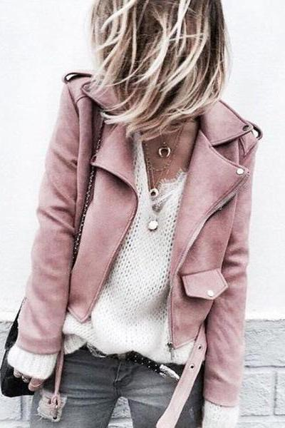 Women Faux Suede Jacket Autumn Long Sleeve Slim Matte Motorcycle Biker Coat Outerwear pink