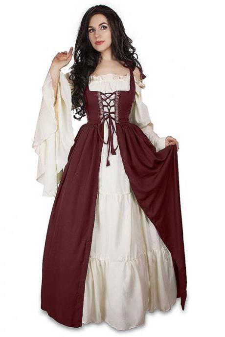 Vintage Halloween Oktoberfest Beer Girl Costume Maid Wench Germany Bavarian Plus Size Medieval Dress Dirndl burgundy