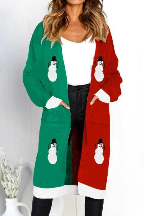 Women Long Knitted Cardigan Autumn Winter Long Sleeve Pocket Casual Streetwear Loose Sweater Coat snowman