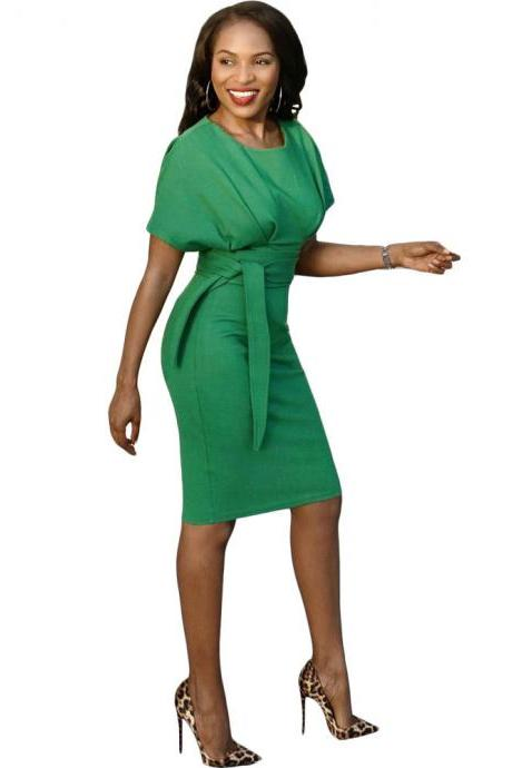 Women Pencil Dress Casual Short Sleeve Belted Bodycon Work Office Business Party Dress green