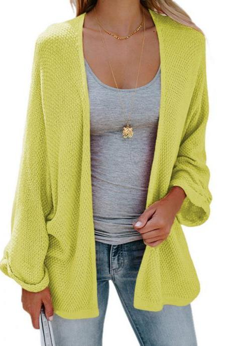 Women Knitted Cardigan Autumn Long Sleeve Solid Color Casual Loose Sweater Coat Jacket apple green