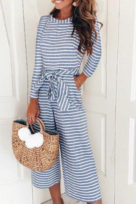 Women Striped Jumpsuit Long Sleeve Casual Loose Belted Wide Leg Pants Rompers Playsuit blue