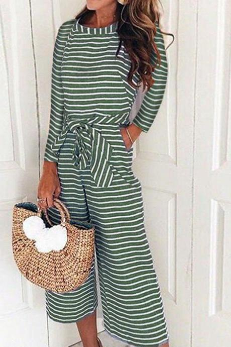Women Striped Jumpsuit Long Sleeve Casual Loose Belted Wide Leg Pants Rompers Playsuit green