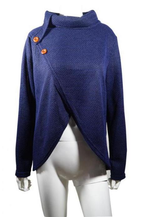 Women Pullover Autumn Turtleneck Long Sleeve Button Casual Loose Asymmetrical Cross Sweater Tops navy blue