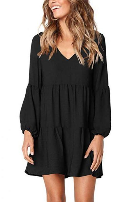 Women Casual Dress Autumn V Neck Long Lantern Sleeve Loose Streetwear Mini Club Party Dress black