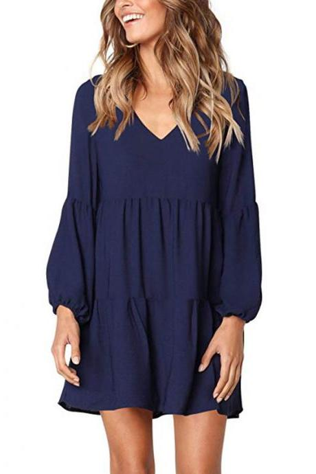 Women Casual Dress Autumn V Neck Long Lantern Sleeve Loose Streetwear Mini Club Party Dress navy blue