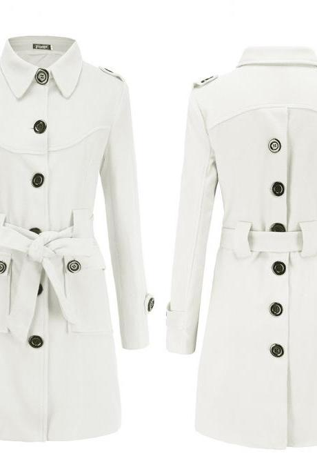 Women Woolen Blend Coat Autumn Winter Single Breasted Back Split Belted Slim Warm Jacket Outerwear off white
