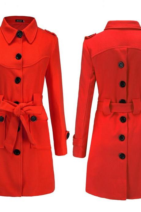Women Woolen Blend Coat Autumn Winter Single Breasted Back Split Belted Slim Warm Jacket Outerwear red