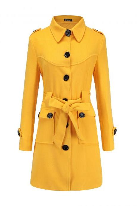 Women Woolen Blend Coat Autumn Winter Single Breasted Back Split Belted Slim Warm Jacket Outerwear yellow