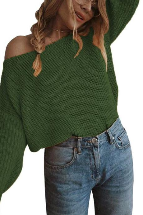 Women Knitted Sweater Autumn Slash Neck Off the Shoulder Long Sleeve Casual Loose Pullover Tops army green