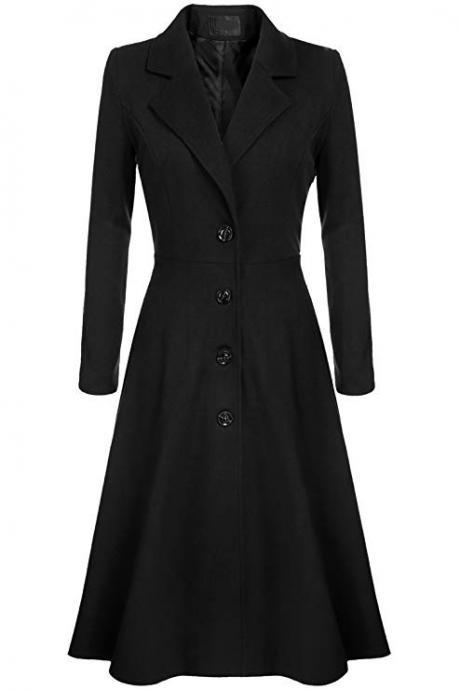 Women Trench Coat Autumn Winter Single Breasted Turn-down Collar Warm Slim Long Sleeve Jacket Outwear Windbreaker black