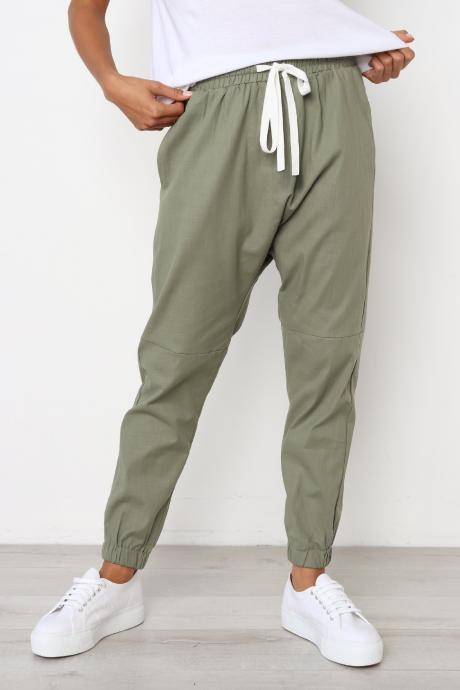 Womens Casual Harem Pants Drawstring Mid Waist Ankle Length Female Loose Trousers army green