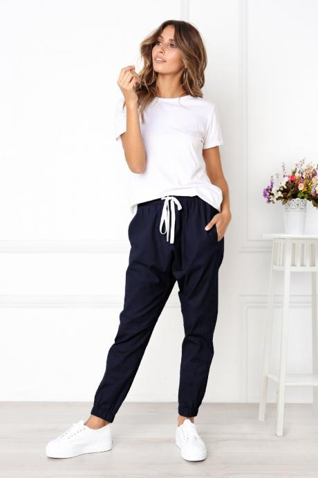Womens Casual Harem Pants Drawstring Mid Waist Ankle Length Female Loose Trousers navy blue