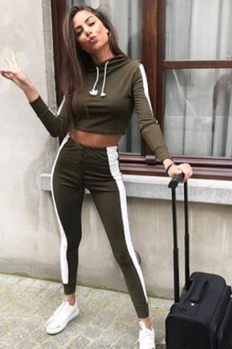 Women Two Piece Sets Long Sleeve Hoodies Crop Top+Long Pants Striped Casual Slim Tracksuit Sportwear army green