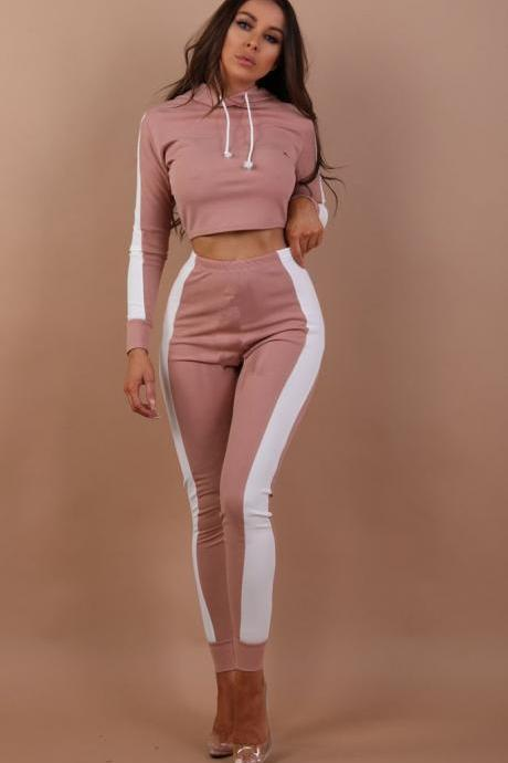 Women Two Piece Sets Long Sleeve Hoodies Crop Top+Long Pants Striped Casual Slim Tracksuit Sportwear pink