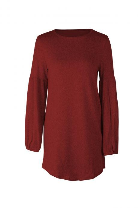 Women Knitted Dress Autumn Winter Long Lantern Sleeve Causal Loose Short A line Sweater Dress crimson