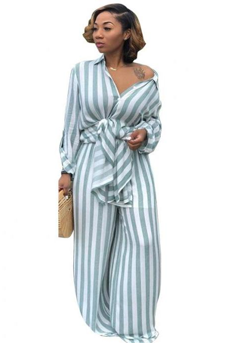 Women Striped Two Pieces Set Casual Loose Long Blouses Shirt and Wide Leg Pants Streetwear Suit blue