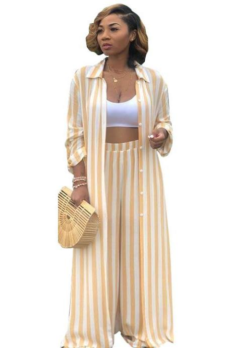 Women Striped Two Pieces Set Casual Loose Long Blouses Shirt and Wide Leg Pants Streetwear Suit yellow
