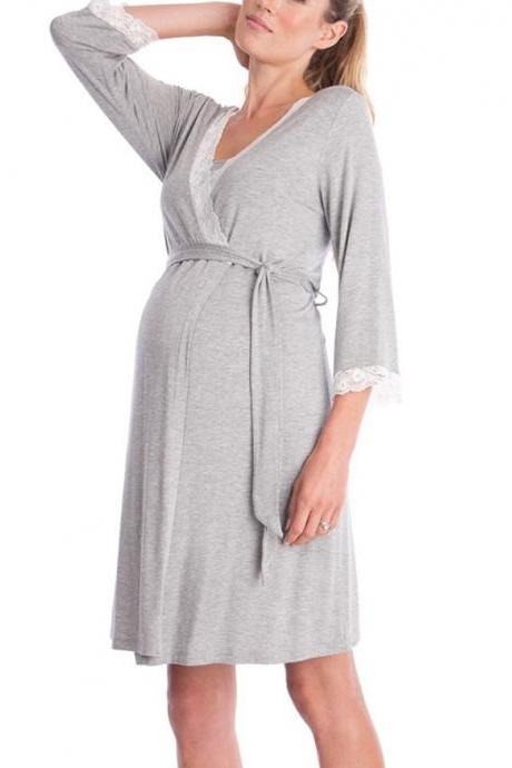 Pregnant Women Pajamas Lace Patchwork 3/4 Sleeve Maternity Sleepwear Nightgown Pregnancy Dress Nursing Clothes gray