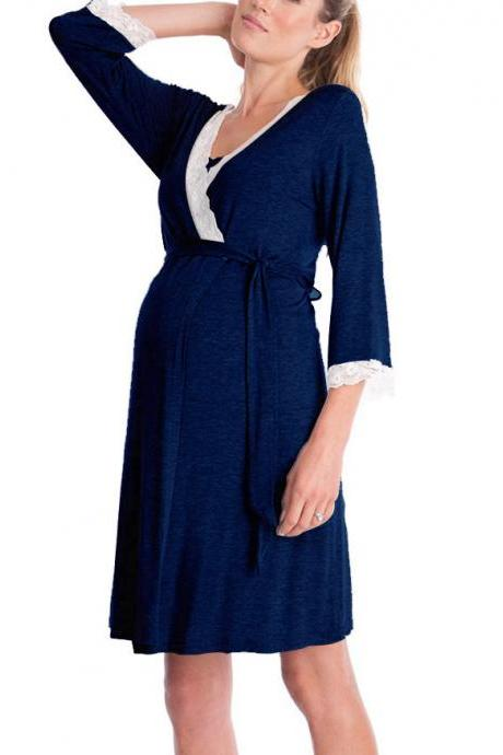 Pregnant Women Pajamas Lace Patchwork 3/4 Sleeve Maternity Sleepwear Nightgown Pregnancy Dress Nursing Clothes navy blue