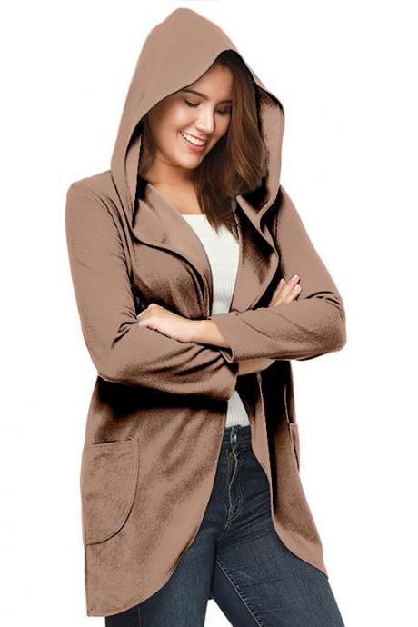 Women Woolen Blend Coat Autumn Solid Long Sleeve Casual Loose Hooded Plus Size Jacket Outwear khaki