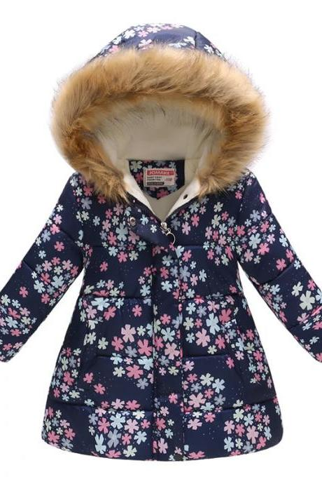 Kids Girls Cotton Down Coat Winter Floral Printed Long Sleeve Hooded Children Warm Thick Fleece Parka Jacket 12#