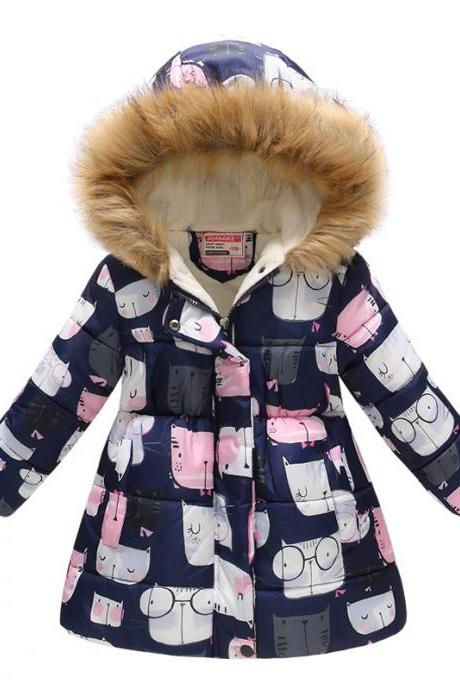 Kids Girls Cotton Down Coat Winter Floral Printed Long Sleeve Hooded Children Warm Thick Fleece Parka Jacket 15#
