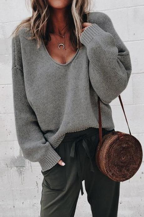 Women Knitted Sweater Autumn Solid V Veck Long Sleeve Casual Loose Pullover Tops dark gray