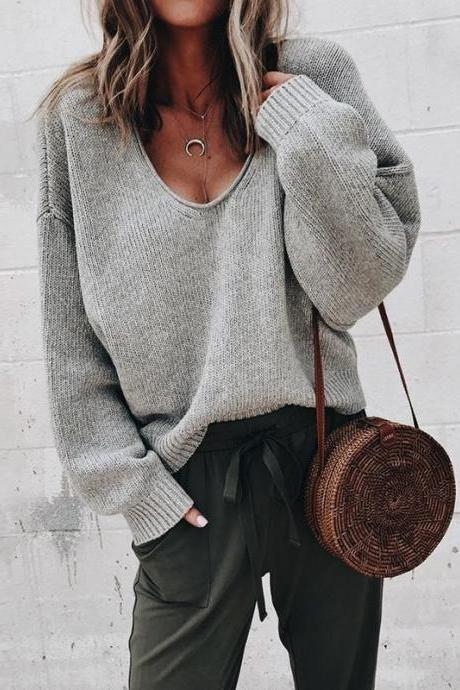 Women Knitted Sweater Autumn Solid V Veck Long Sleeve Casual Loose Pullover Tops gray