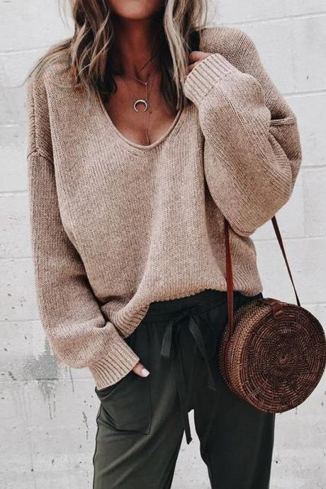 Women Knitted Sweater Autumn Solid V Veck Long Sleeve Casual Loose Pullover Tops khaki