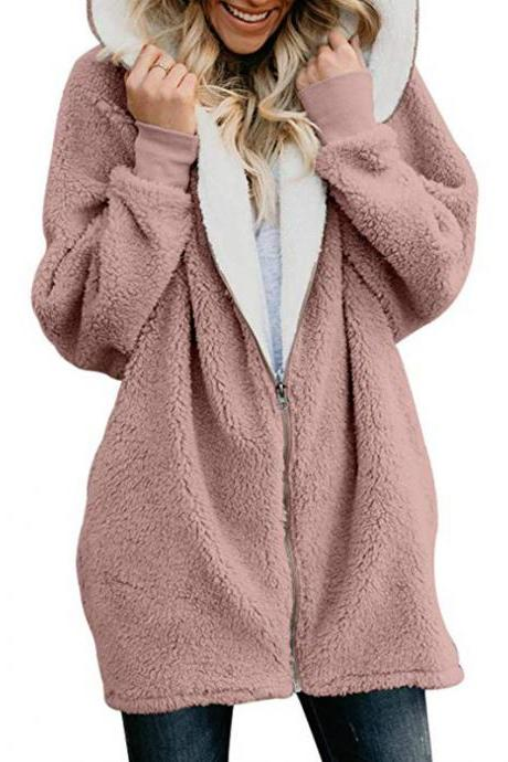 Women Plush Coat Autumn Winter Zipper Open Stitch Hooded Loose Long Sleeve Fleece Jacket Outerwear Overcoat pink