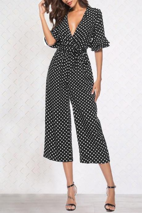 Women Polka Dot Jumpsuit Sexy Deep V Neck Flare Half Sleeve Belted Wrap Wide Leg Beach Rompers black