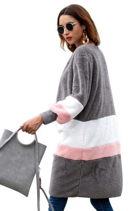 Women Plush Coat Sweater Autumn Winter Long Sleeve Casual Loose Patchwork Color Warm Cardigan Jacket gray