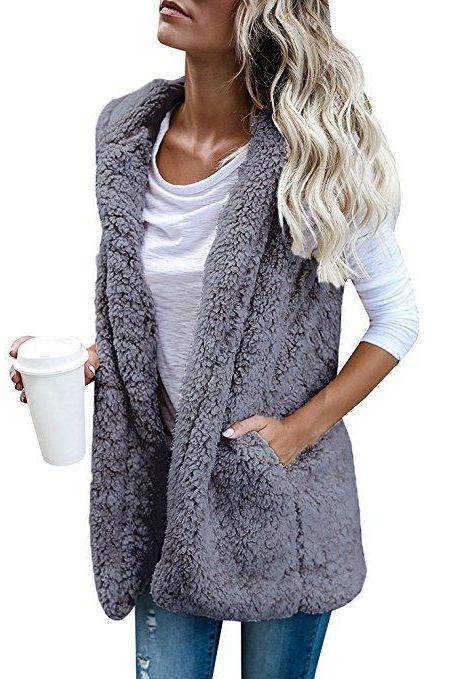 Women Fleece Waistcoat Autumn Winter Hooded Sleeveless Casual Loose Warm Open Stitch Vest Jacket Outwear gray