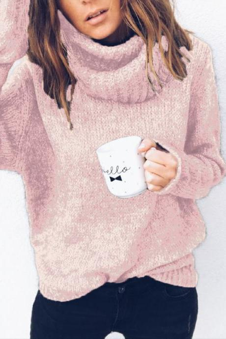 Women Knitted Sweater Autumn Winter Turtleneck Long Sleeve Solid Casual Loose Warm Pullover Tops pink