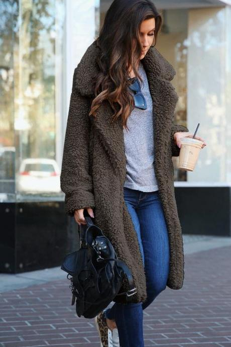 Women Plush Coat Winter Thick Long Sleeve Turn-down Collar Casual Loose Fleece Warm Long Jacket Outerwear dark gray