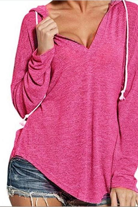 Women Hoodies Autumn Hooded Long Sleeve V Neck Casual Loose Streetwear Sweatshirt hot pink