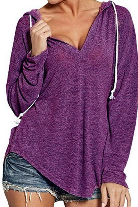 Women Hoodies Autumn Hooded Long Sleeve V Neck Casual Loose Streetwear Sweatshirt purple