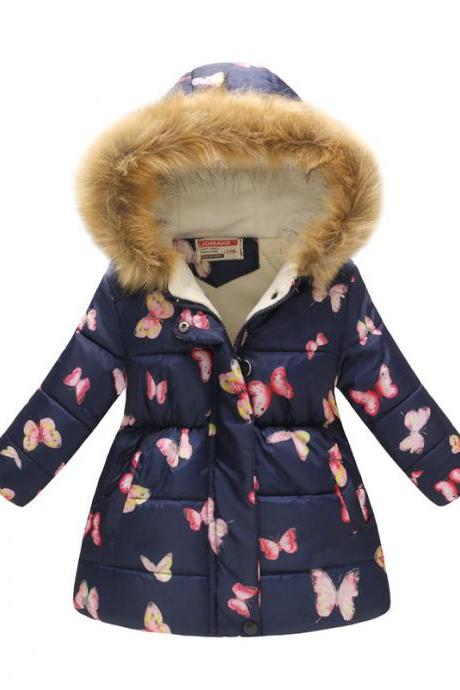 Kids Girls Cotton Down Coat Winter Floral Printed Long Sleeve Hooded Children Warm Thick Fleece Parka Jacket 3#