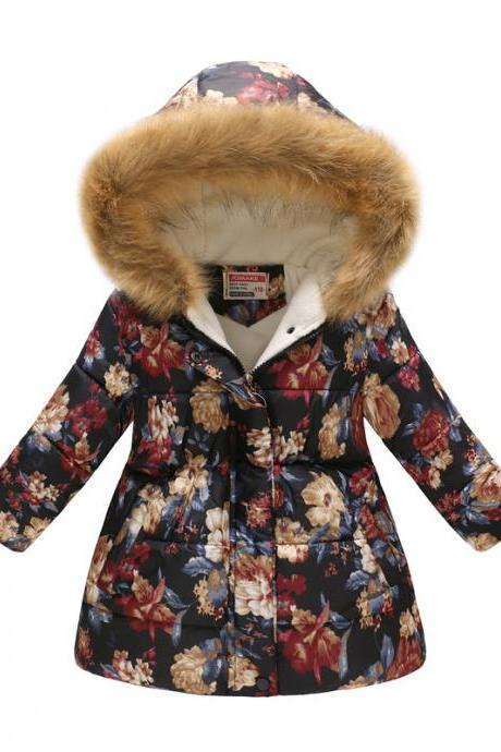 Kids Girls Cotton Down Coat Winter Floral Printed Long Sleeve Hooded Children Warm Thick Fleece Parka Jacket 4#
