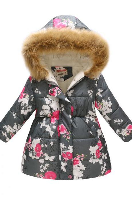 Kids Girls Cotton Down Coat Winter Floral Printed Long Sleeve Hooded Children Warm Thick Fleece Parka Jacket 5#