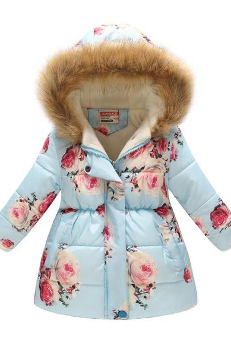 Kids Girls Cotton Down Coat Winter Floral Printed Long Sleeve Hooded Children Warm Thick Fleece Parka Jacket 6#