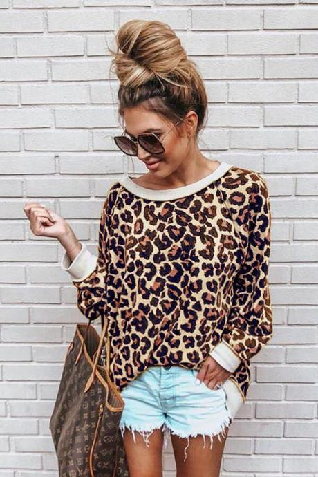 Women Sweatshirt Autumn Long Sleeve O Neck Streetwear Casual Leopard Printed Pullover Tops coffee